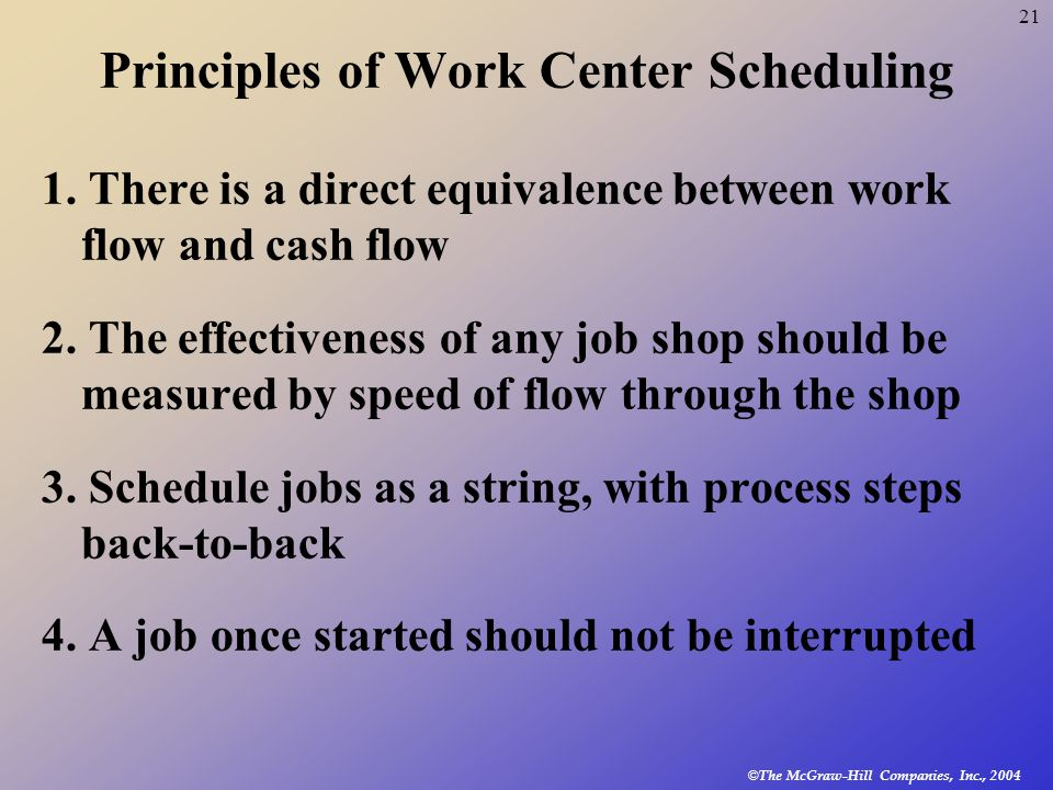 © The McGraw-Hill Companies, Inc., 2004 21 Principles of Work Center Scheduling 1.