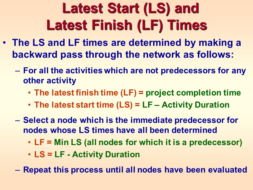 Latest Start (LS) and Latest Finish (LF) Times Latest Start (LS) and Latest Finish (LF) Times The LS and LF times are determined by making a backward