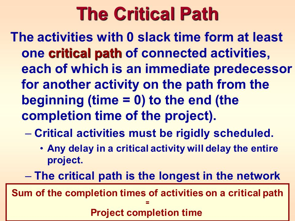 The Critical Path critical path The activities with 0 slack time form at least one critical path of connected activities, each of which is an immediat