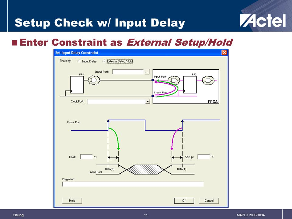 11MAPLD 2005/1034Chung Setup Check w/ Input Delay  Enter Constraint as External Setup/Hold