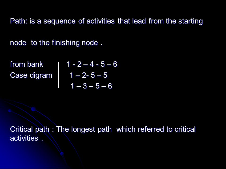 Path: is a sequence of activities that lead from the starting node to the finishing node. from bank 1 - 2 – 4 - 5 – 6 Case digram 1 – 2- 5 – 5 1 – 3 –