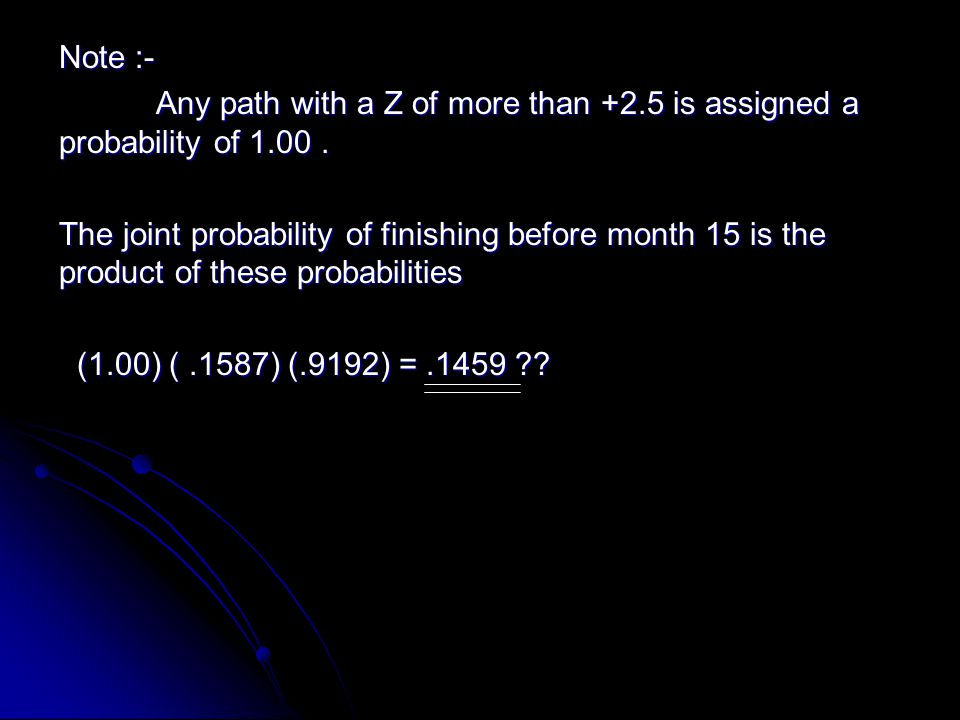 Note :- Any path with a Z of more than +2.5 is assigned a probability of 1.00. Any path with a Z of more than +2.5 is assigned a probability of 1.00.