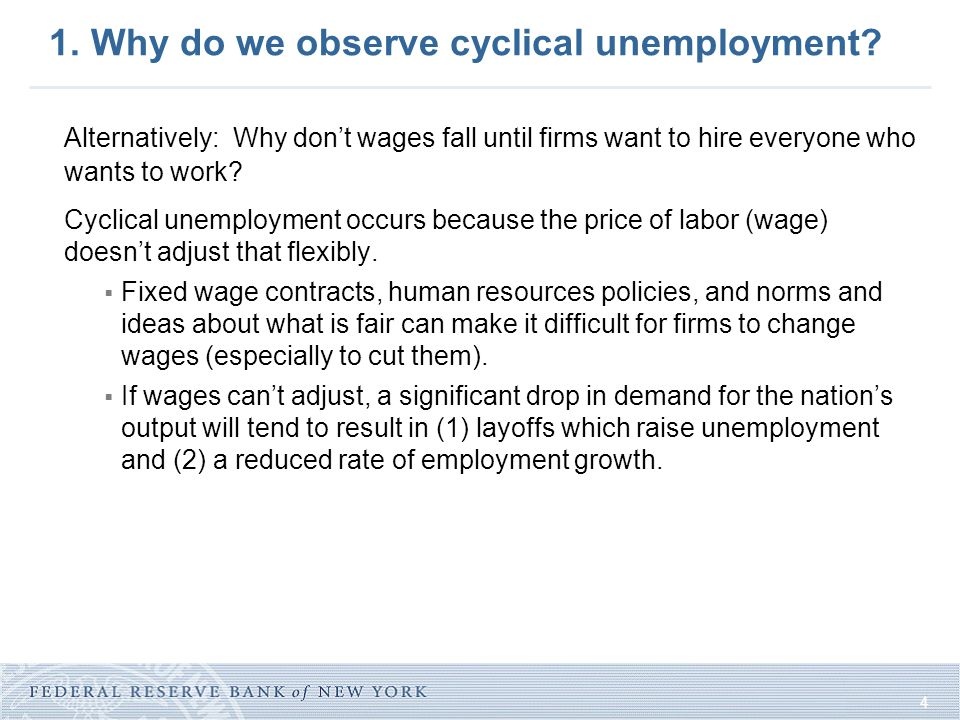 4 1. Why do we observe cyclical unemployment.