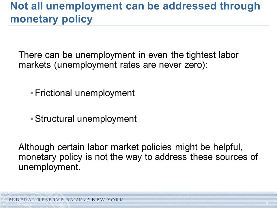 5 Not all unemployment can be addressed through monetary policy There can be unemployment in even the tightest labor markets (unemployment rates are never zero):  Frictional unemployment  Structural unemployment Although certain labor market policies might be helpful, monetary policy is not the way to address these sources of unemployment.