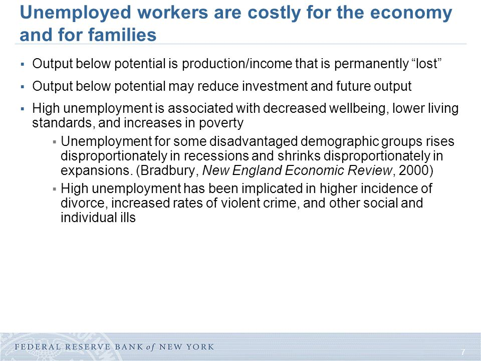 7 Unemployed workers are costly for the economy and for families  Output below potential is production/income that is permanently lost  Output below potential may reduce investment and future output  High unemployment is associated with decreased wellbeing, lower living standards, and increases in poverty  Unemployment for some disadvantaged demographic groups rises disproportionately in recessions and shrinks disproportionately in expansions.