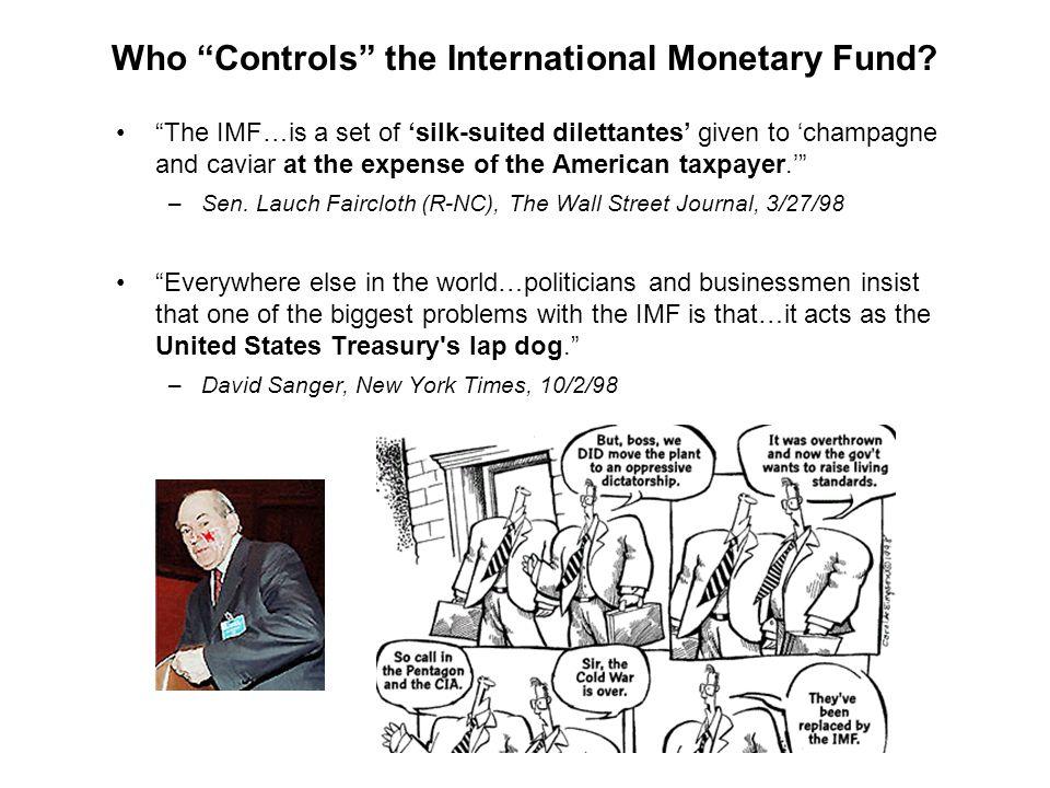 The Politics of IMF Lending: Two Main Perspectives Technocratic economic criteria or staff rent-seeking (Knight/Santaella, Dreher/Vaubel) Executive Board.