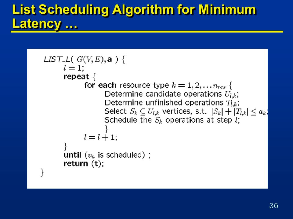 36 List Scheduling Algorithm for Minimum Latency …