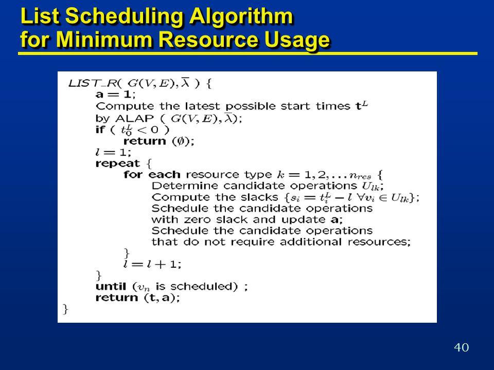 40 List Scheduling Algorithm for Minimum Resource Usage