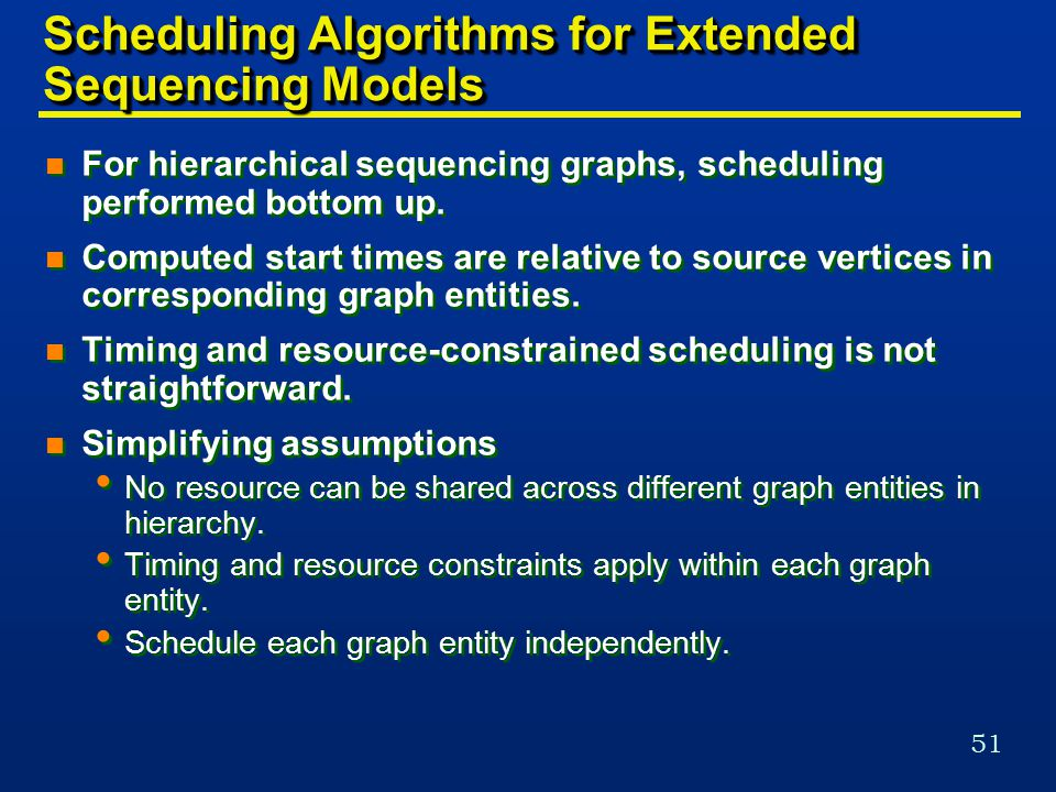 51 Scheduling Algorithms for Extended Sequencing Models n For hierarchical sequencing graphs, scheduling performed bottom up.