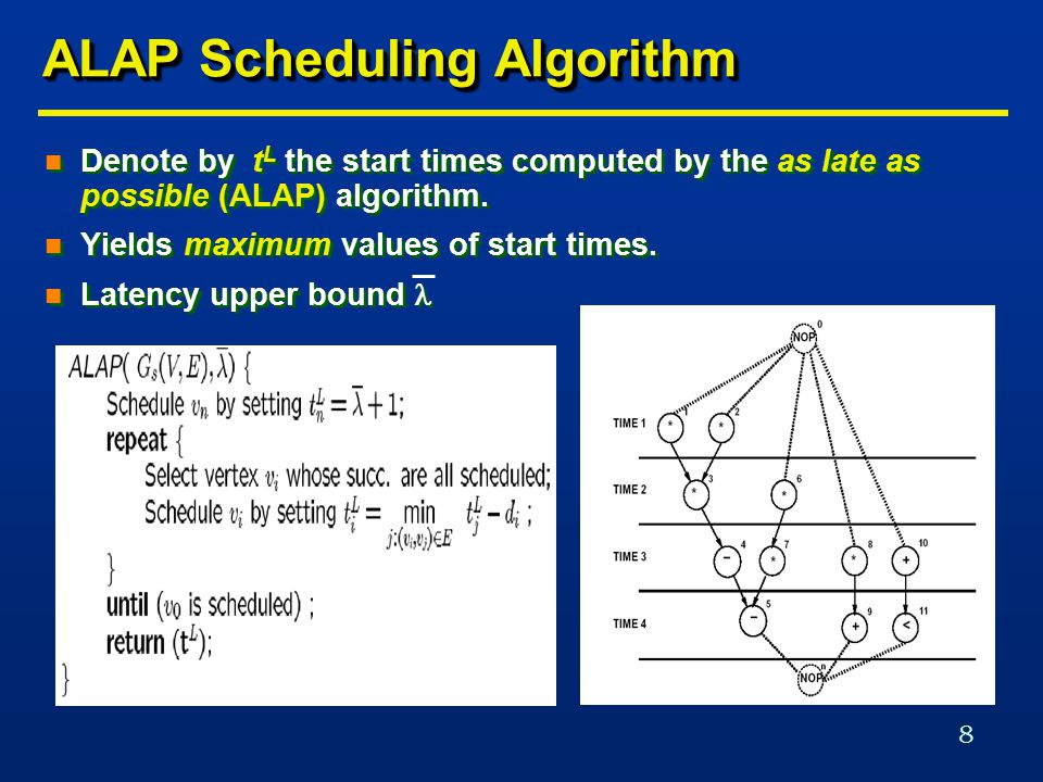 8 ALAP Scheduling Algorithm n Denote by t L the start times computed by the as late as possible (ALAP) algorithm.