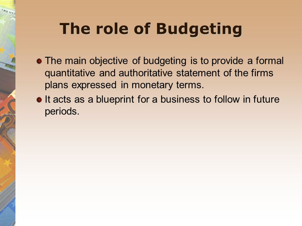 The master budget The plan of action selected is termed the master budget for the period.