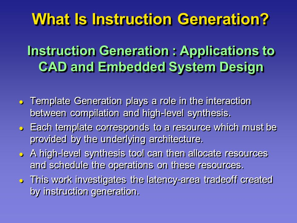 What Is Instruction Generation.