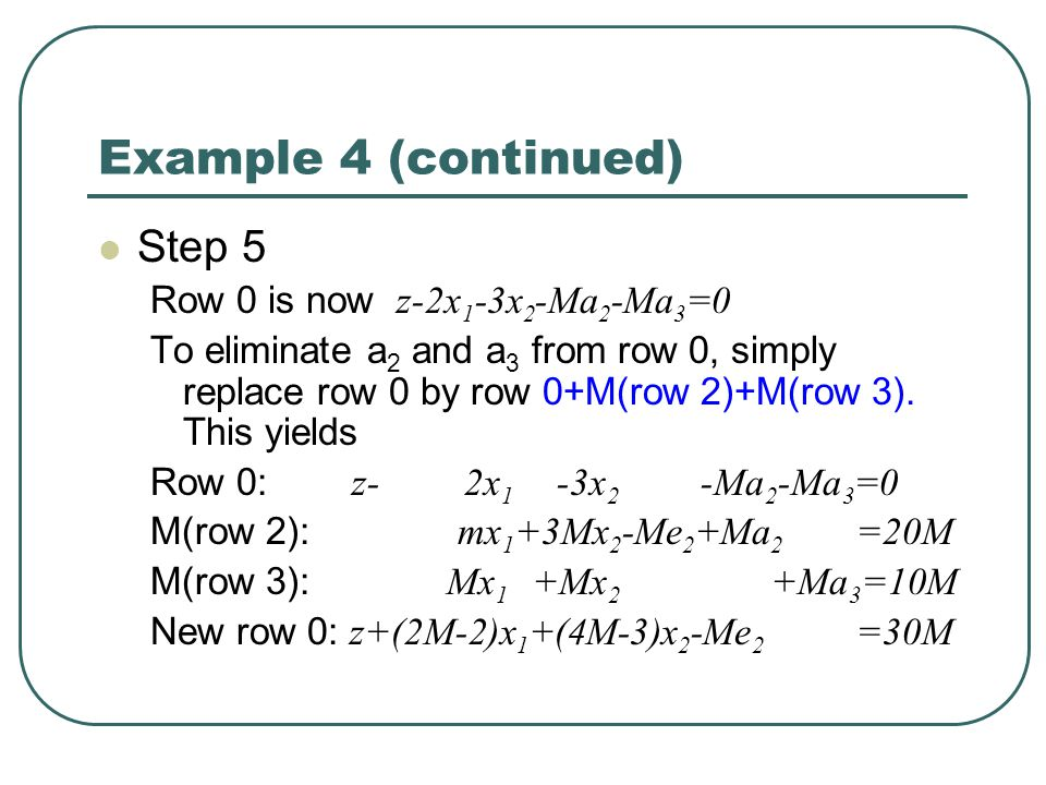 Example 4 (continued) Step 5 Row 0 is now z-2x 1 -3x 2 -Ma 2 -Ma 3 =0 To eliminate a 2 and a 3 from row 0, simply replace row 0 by row 0+M(row 2)+M(row 3).