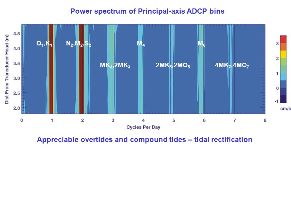 Power spectrum of Principal-axis ADCP bins Appreciable overtides and compound tides – tidal rectification O 1,K 1 N 2,M 2,S 2 MK 3,2MK 3 M4M4 2MK 5,2MO 5 M6M6 4MK 7,4MO 7