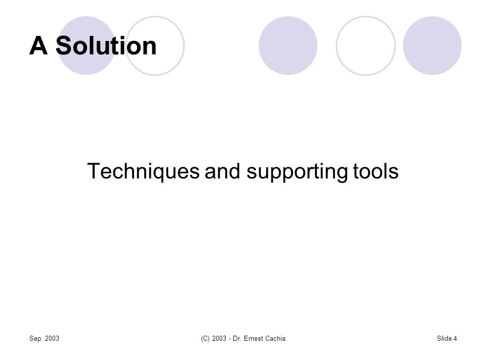 Sep. 2003(C) 2003 - Dr. Ernest CachiaSlide 4 A Solution Techniques and supporting tools