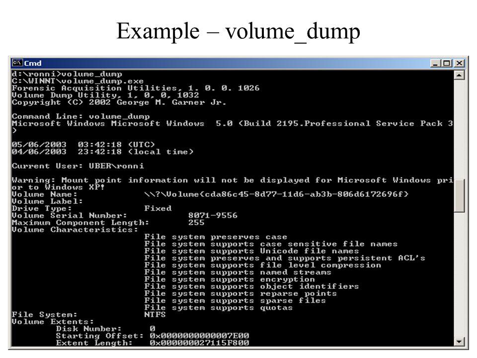 Example – volume_dump