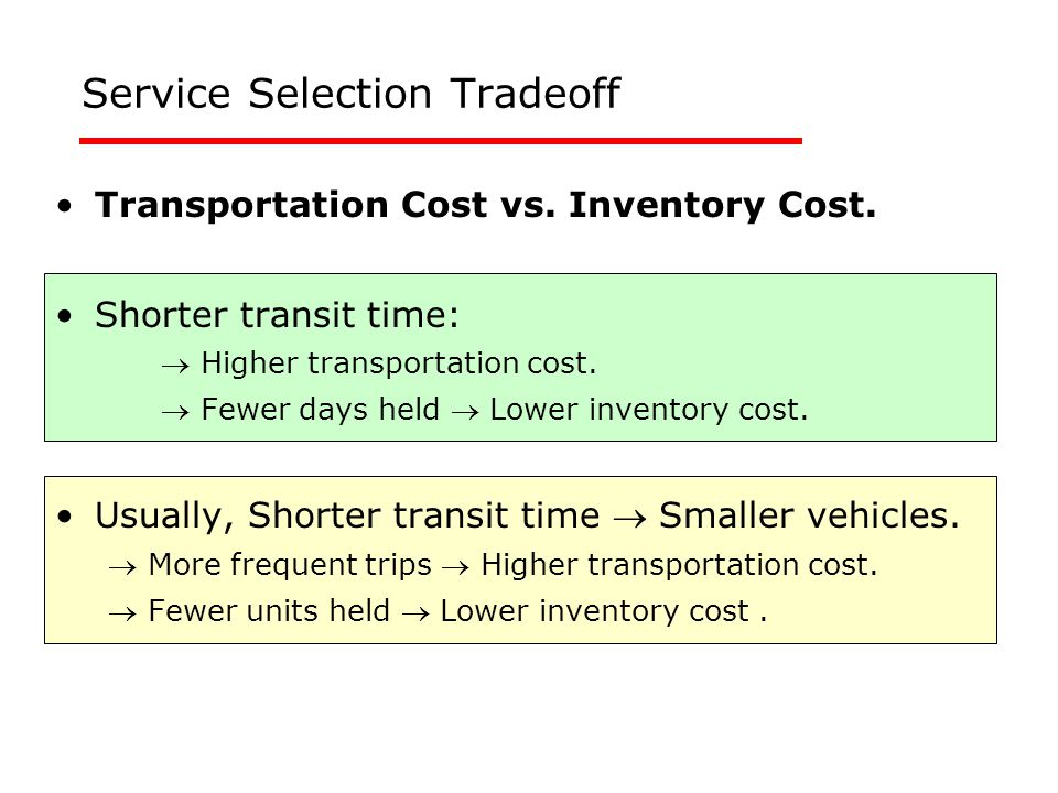 Service Selection Tradeoff Transportation Cost vs.
