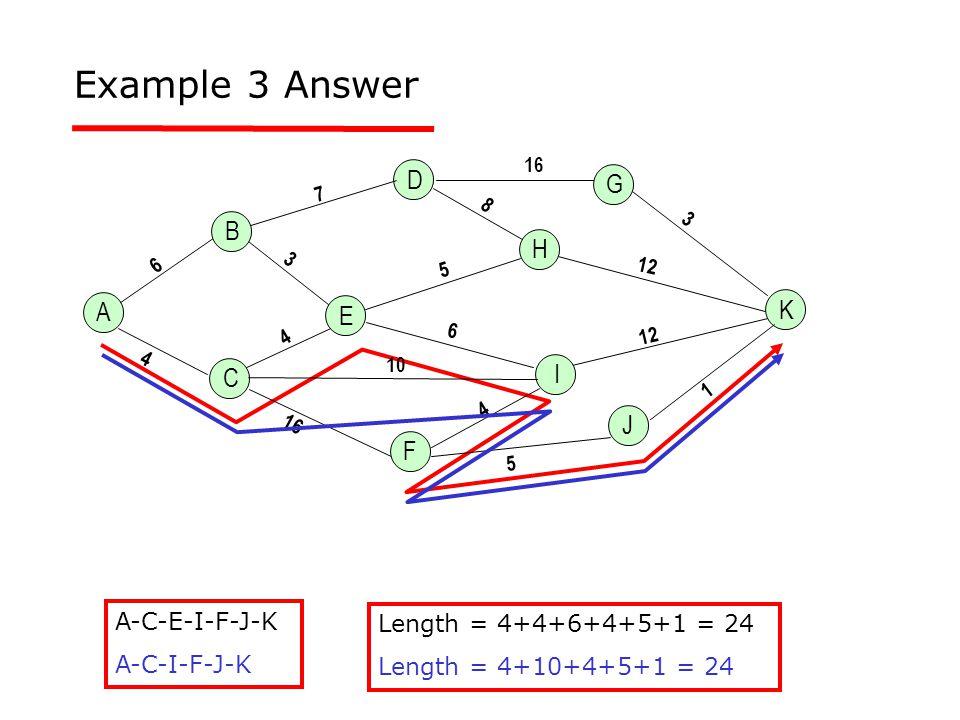 Example 3 Answer A-C-E-I-F-J-K A-C-I-F-J-K Length = 4+4+6+4+5+1 = 24 Length = 4+10+4+5+1 = 24 A K H E 4 6 3 16 7 5 6 1 3 12 10 B C D G J F I 12 16 8 5 4 4