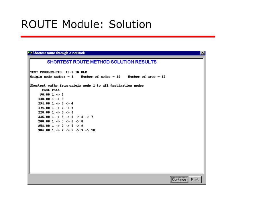 ROUTE Module: Solution