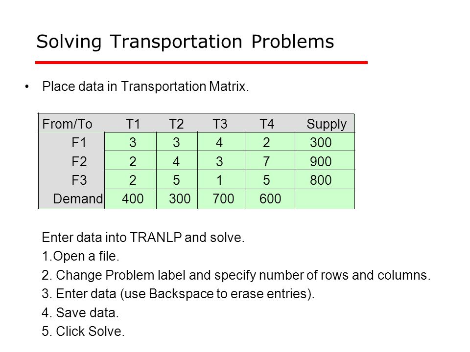 Solving Transportation Problems Place data in Transportation Matrix.