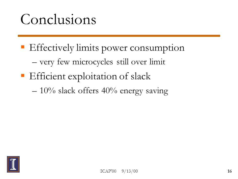 ICAP 00 9/13/0016 Conclusions  Effectively limits power consumption –very few microcycles still over limit  Efficient exploitation of slack –10% slack offers 40% energy saving
