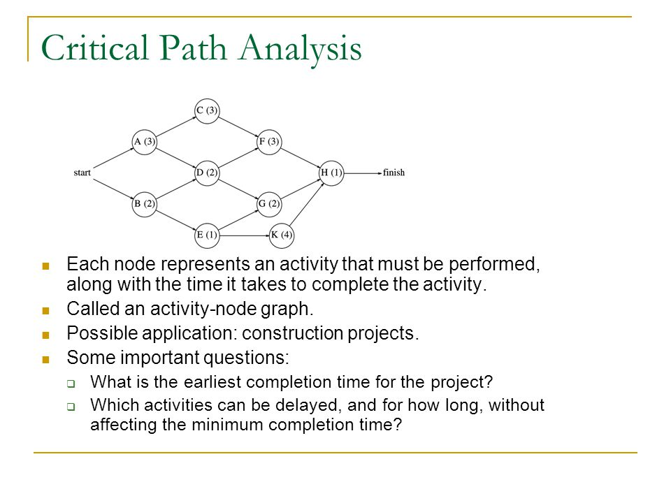 Critical Path Analysis Each node represents an activity that must be performed, along with the time it takes to complete the activity.