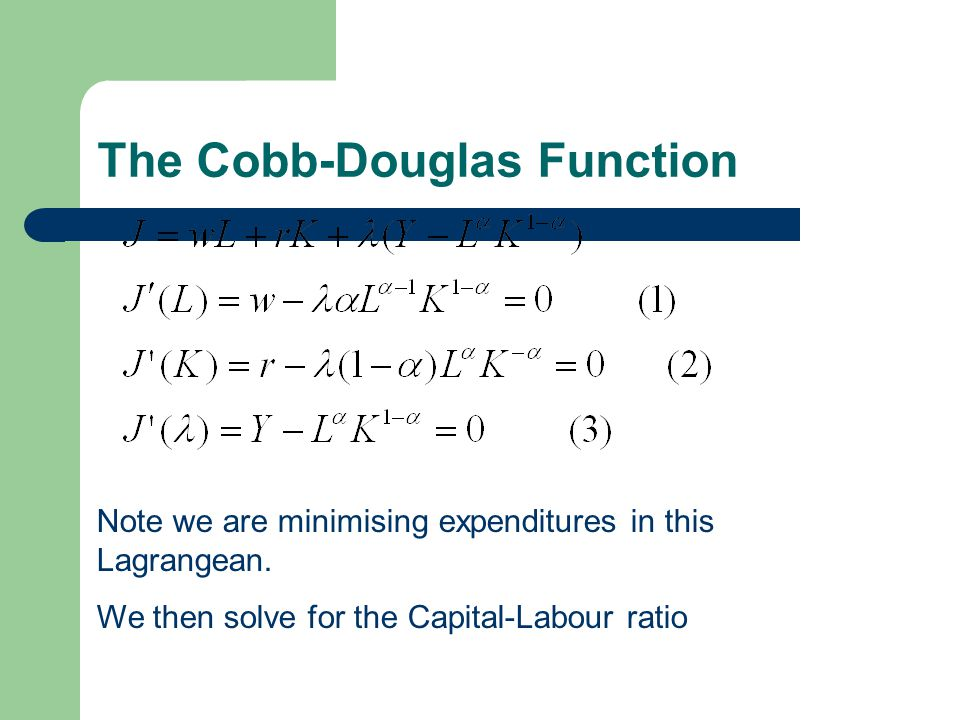 Capital-Labour Ratio This implies that the capital-labour ratio is independent of the level of output.