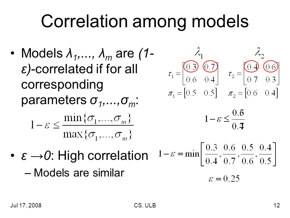 Jul 17, 2008CS, ULB12 Correlation among models Models λ 1,..., λ m are (1- ε)-correlated if for all corresponding parameters σ 1,...,σ m : ε →0: High correlation –Models are similar