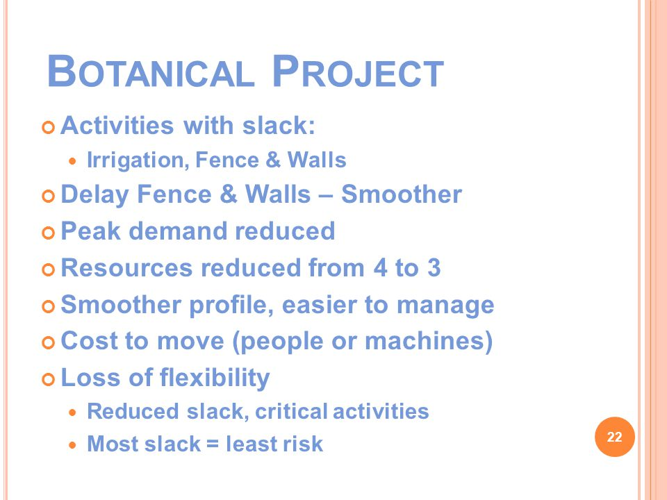 B OTANICAL P ROJECT Activities with slack: Irrigation, Fence & Walls Delay Fence & Walls – Smoother Peak demand reduced Resources reduced from 4 to 3 Smoother profile, easier to manage Cost to move (people or machines) Loss of flexibility Reduced slack, critical activities Most slack = least risk 22