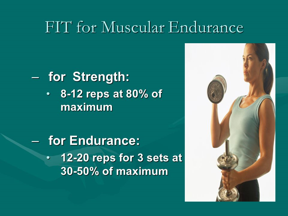 FIT for Muscular Endurance –for Strength: 8-12 reps at 80% of maximum8-12 reps at 80% of maximum –for Endurance: 12-20 reps for 3 sets at 30-50% of maximum12-20 reps for 3 sets at 30-50% of maximum