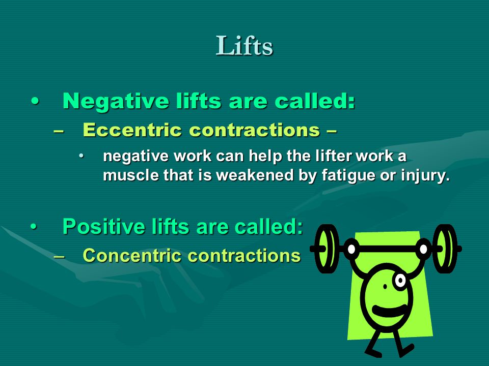 Lifts Negative lifts are called:Negative lifts are called: –Eccentric contractions – negative work can help the lifter work a muscle that is weakened by fatigue or injury.negative work can help the lifter work a muscle that is weakened by fatigue or injury.