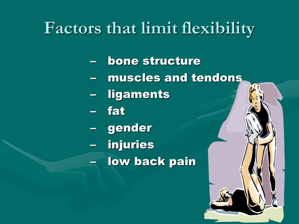 Factors that limit flexibility –bone structure –muscles and tendons –ligaments –fat –gender –injuries –low back pain