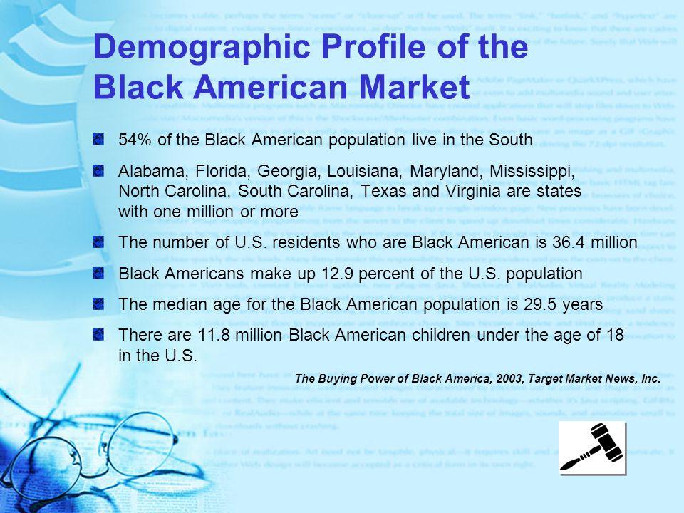 Demographic Profile of the Black American Market 54% of the Black American population live in the South Alabama, Florida, Georgia, Louisiana, Maryland