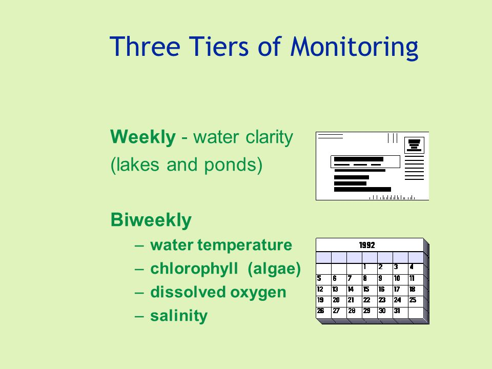 Three Tiers of Monitoring Weekly - water clarity (lakes and ponds) Biweekly –water temperature –chlorophyll (algae) –dissolved oxygen –salinity
