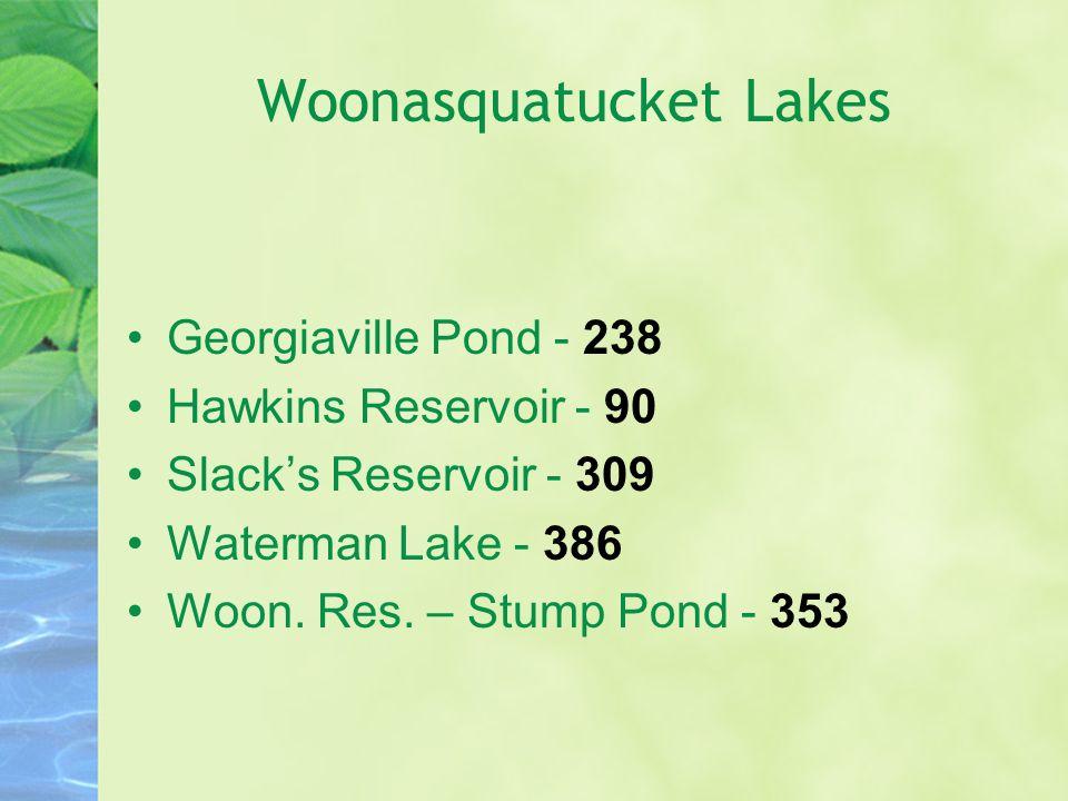 Woonasquatucket Lakes Georgiaville Pond - 238 Hawkins Reservoir - 90 Slack's Reservoir - 309 Waterman Lake - 386 Woon. Res. – Stump Pond - 353