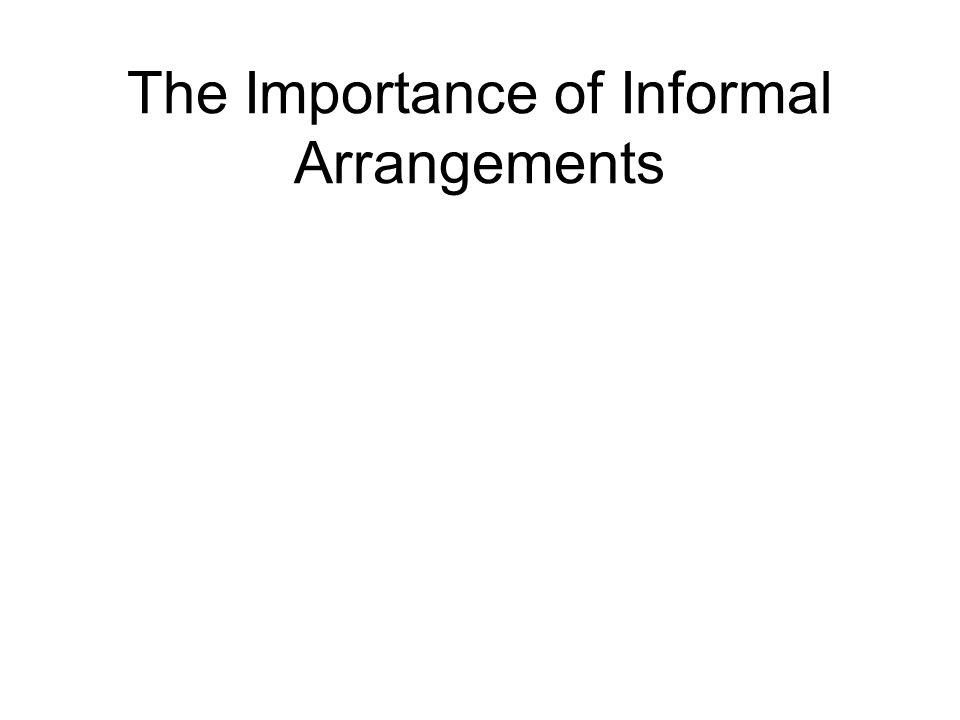 The Importance of Informal Arrangements
