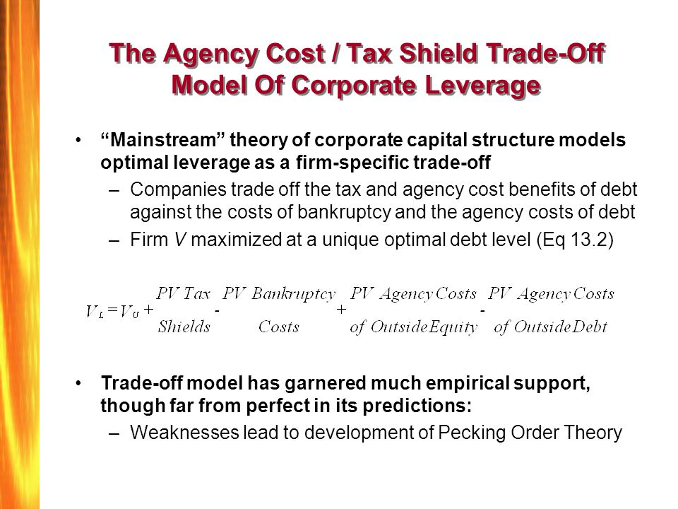 "The Agency Cost / Tax Shield Trade-Off Model Of Corporate Leverage ""Mainstream"" theory of corporate capital structure models optimal leverage as a fir"