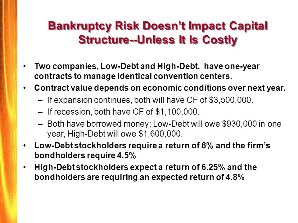 Bankruptcy Risk Doesn't Impact Capital Structure--Unless It Is Costly Two companies, Low-Debt and High-Debt, have one-year contracts to manage identic