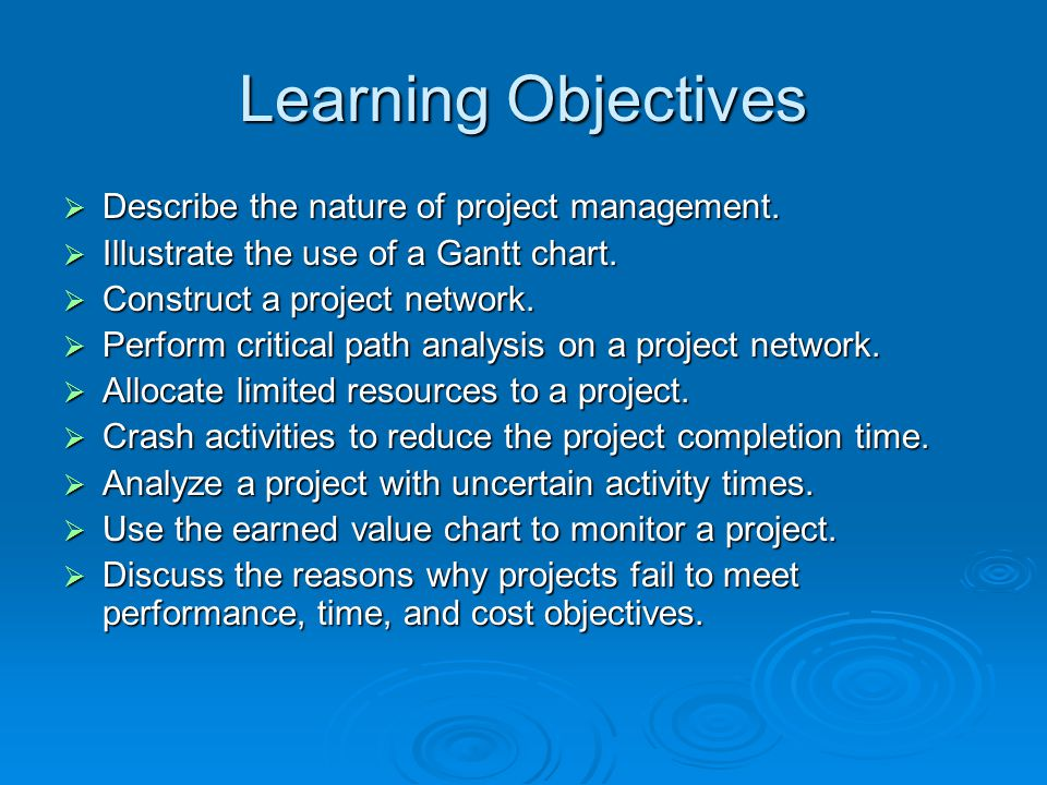 Learning Objectives  Describe the nature of project management.