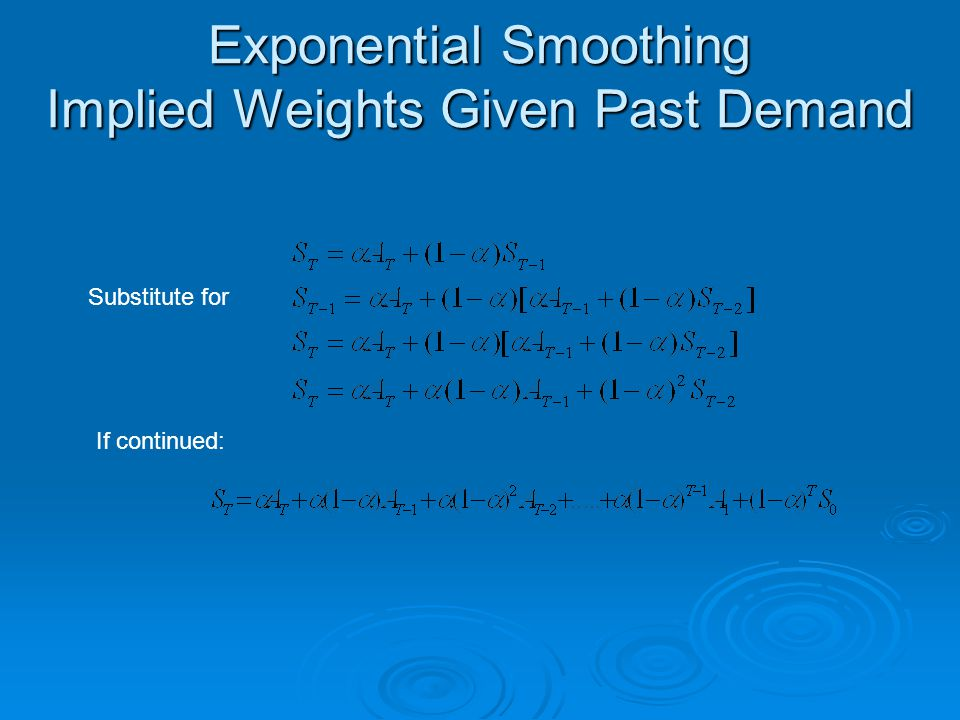 Exponential Smoothing Implied Weights Given Past Demand Substitute for If continued: