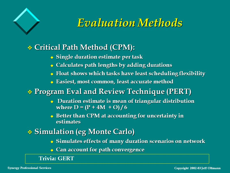 Copyright 2002-03 Jeff Oltmann Synergy Professional Services Evaluation Methods v Critical Path Method (CPM): u Single duration estimate per task u Calculates path lengths by adding durations u Float shows which tasks have least scheduling flexibility u Easiest, most common, least accurate method v Program Eval and Review Technique (PERT) u Duration estimate is mean of triangular distribution where D = (P + 4M + O) / 6 u Better than CPM at accounting for uncertainty in estimates v Simulation (eg Monte Carlo) u Simulates effects of many duration scenarios on network u Can account for path convergence Trivia: GERT
