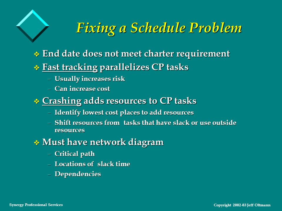 Copyright 2002-03 Jeff Oltmann Synergy Professional Services Fixing a Schedule Problem v End date does not meet charter requirement v Fast tracking parallelizes CP tasks – Usually increases risk – Can increase cost v Crashing adds resources to CP tasks – Identify lowest cost places to add resources – Shift resources from tasks that have slack or use outside resources v Must have network diagram – Critical path – Locations of slack time – Dependencies
