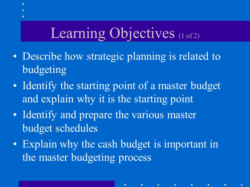 Learning Objectives (1 of 2) Describe how strategic planning is related to budgeting Identify the starting point of a master budget and explain why it