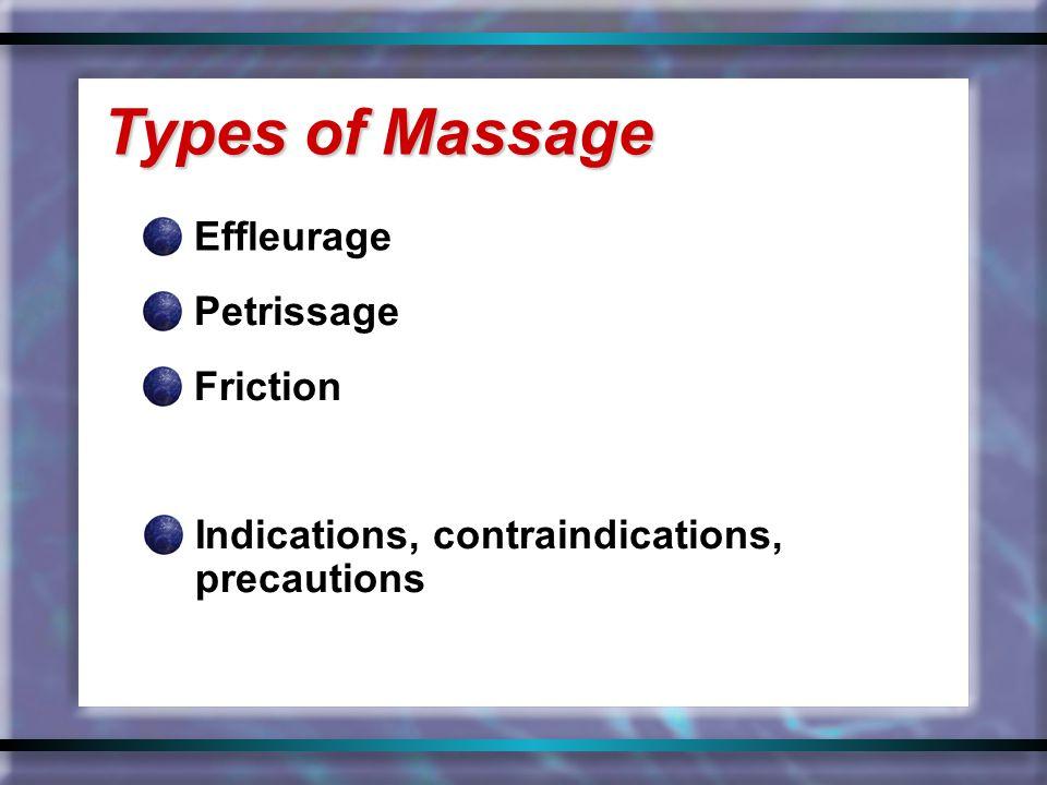Effleurage Types of Massage Petrissage Friction Indications, contraindications, precautions