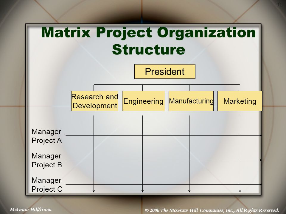 McGraw-Hill/Irwin © 2006 The McGraw-Hill Companies, Inc., All Rights Reserved. 11 Matrix Project Organization Structure President Research and Develop