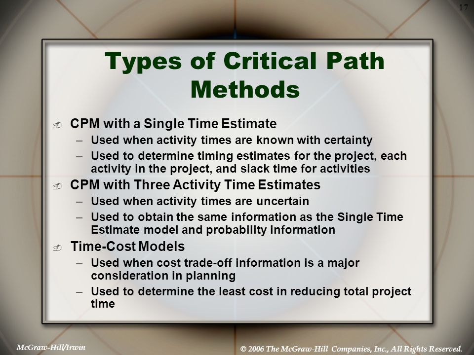 McGraw-Hill/Irwin © 2006 The McGraw-Hill Companies, Inc., All Rights Reserved. 17 Types of Critical Path Methods  CPM with a Single Time Estimate –Us