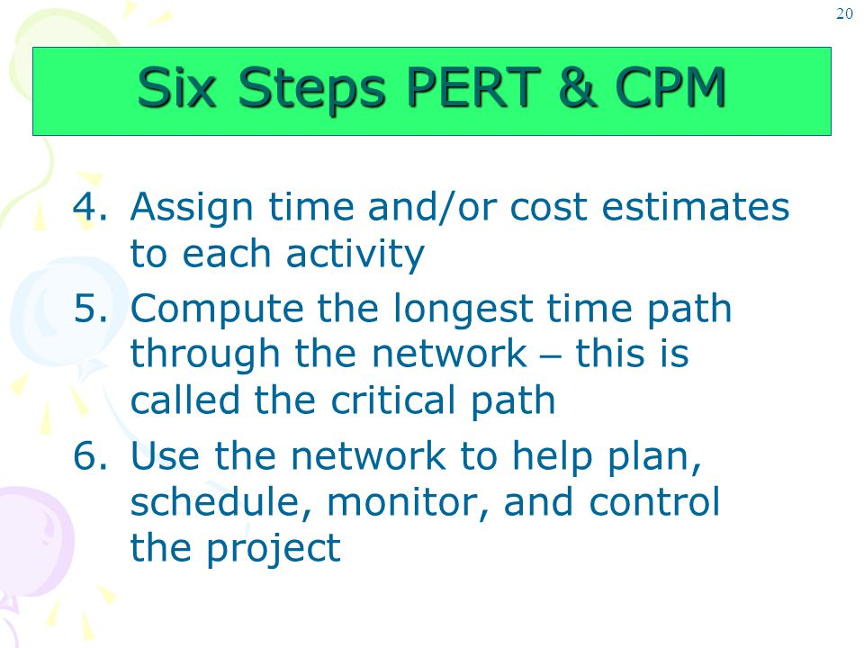 20 Six Steps PERT & CPM 4.Assign time and/or cost estimates to each activity 5.Compute the longest time path through the network – this is called the