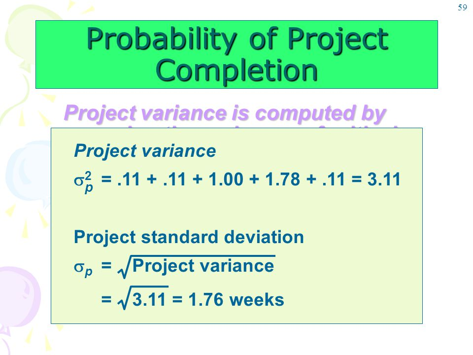 59 Probability of Project Completion Project variance is computed by summing the variances of critical activities Project variance  2 =.11 +.11 + 1.0