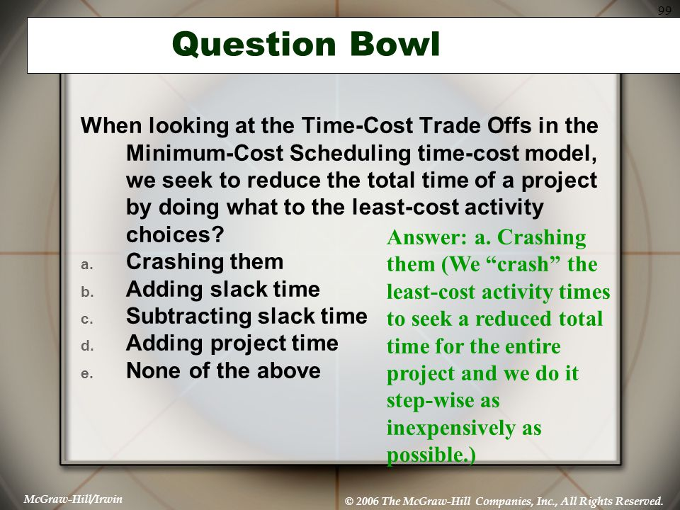 McGraw-Hill/Irwin © 2006 The McGraw-Hill Companies, Inc., All Rights Reserved. 99 Question Bowl When looking at the Time-Cost Trade Offs in the Minimu