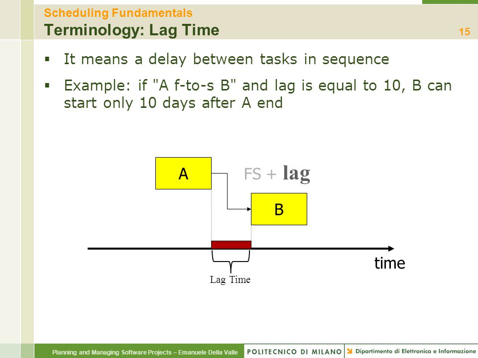 Planning and Managing Software Projects – Emanuele Della Valle Scheduling Fundamentals Terminology: Lag Time  It means a delay between tasks in seque